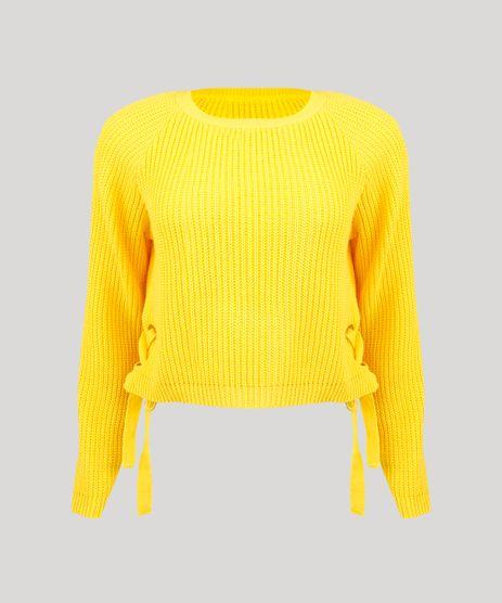 Sueter-Feminino-em-Tricot-com-Ilhos-e-Tiras--Amarelo-9250728-Amarelo_2
