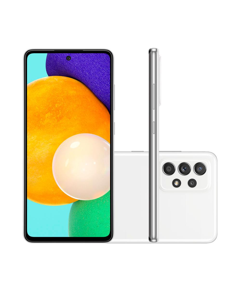 "Smartphone Samsung Galaxy A52 Dual Chip Android 11.0 Tela Infinita de 6.5 128GB Câmera 64MP + 12MP + 5MP +5MP Frontal 32MP Branco"""