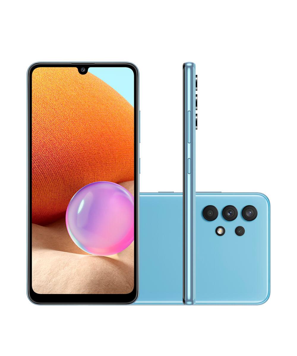 "Smartphone Samsung Galaxy A32 Dual Chip Android 11.0 Tela Infinita de 6.4 128GB Câmera 64MP + 8MP + 5MP + 2MP Frontal 20MP Azul"""