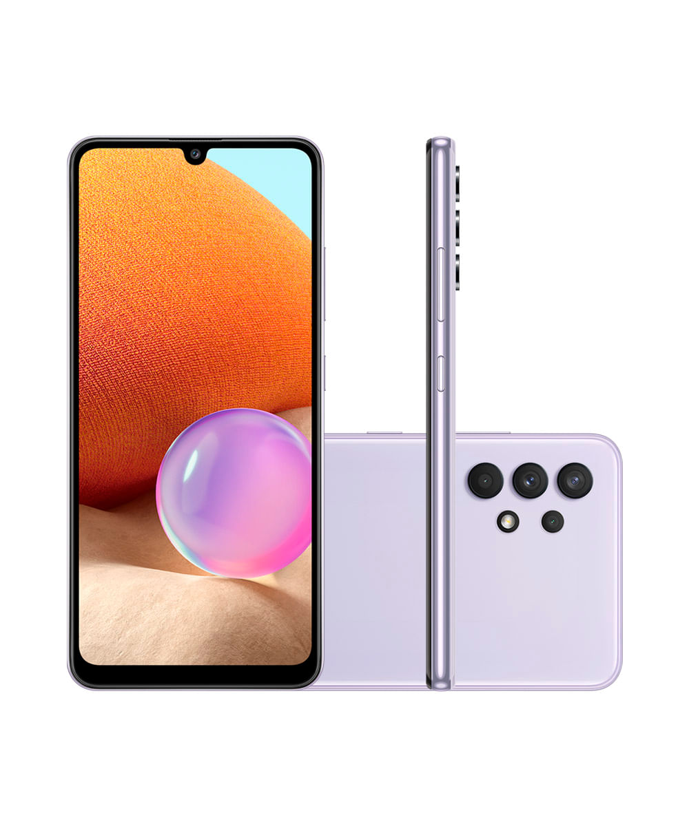 "Smartphone Samsung Galaxy A32 Dual Chip Android 11.0 Tela Infinita de 6.4 128GB Câmera 64MP + 8MP + 5MP + 2MP Frontal 20MP Lilás"""
