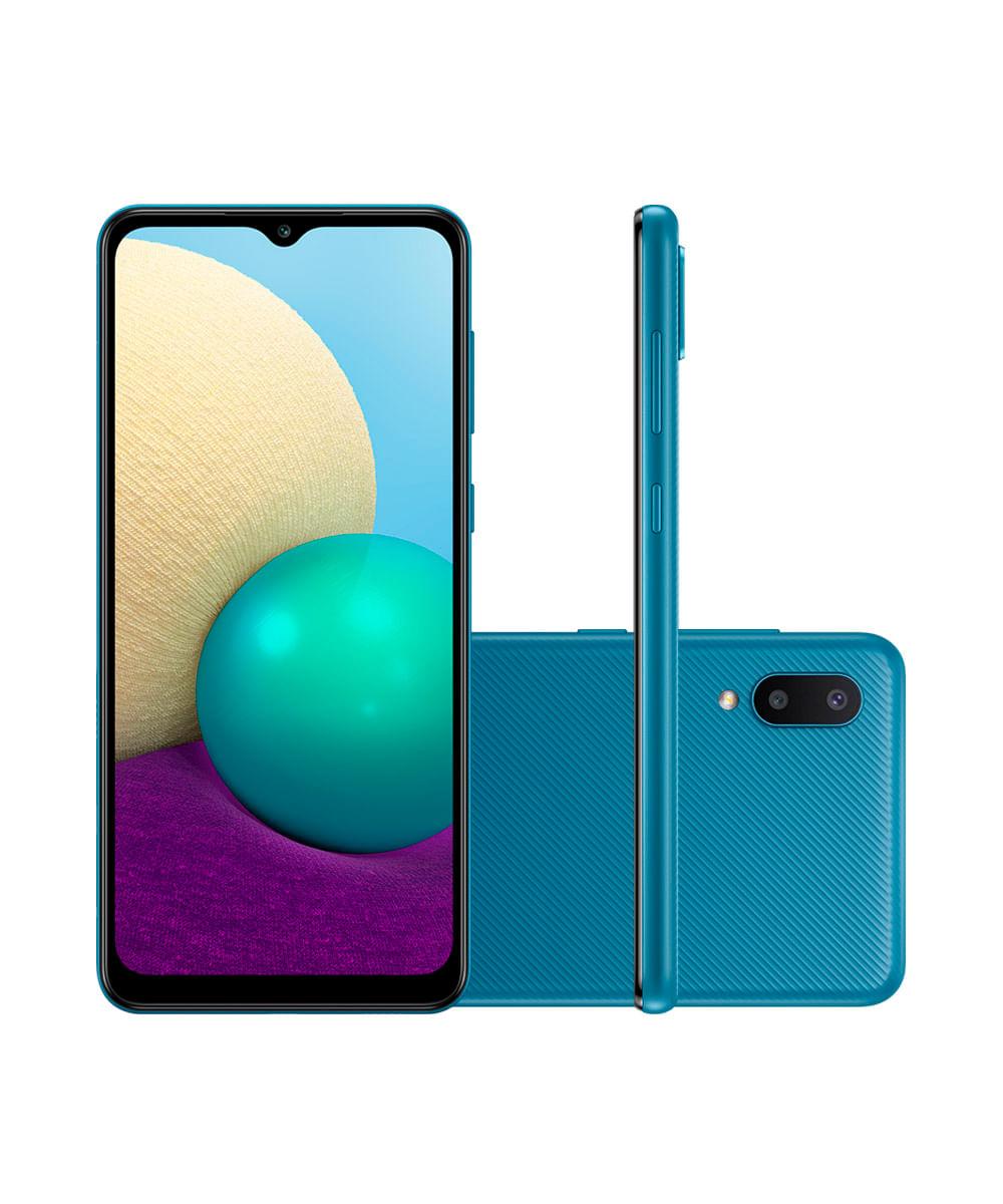 "Smartphone Samsung Galaxy A02 Dual Chip Android 10.0 Tela Infinita de 6.5 32GB Câmera 13MP + 2MP Frontal 5MP Azul"""