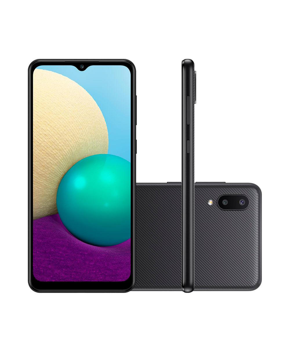 "Smartphone Samsung Galaxy A02 Dual Chip Android 10.0 Tela Infinita de 6.5 32GB Câmera 13MP + 2MP Frontal 5MP Preto"""