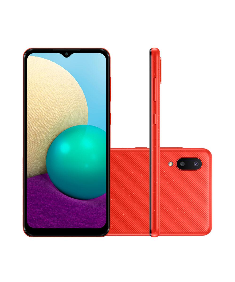 """Smartphone Samsung Galaxy A02 Dual Chip Android 10.0 Tela Infinita de 6.5 32GB Câmera 13MP + 2MP Frontal 5MP Vermelho"""""""