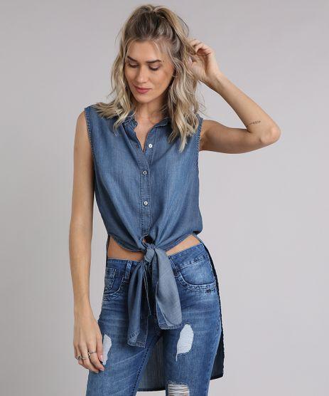 Camisa-Jeans-Feminina-Longa-Sem-Manga-com-Fendas-Azul-Escuro-9204378-Azul_Escuro_1