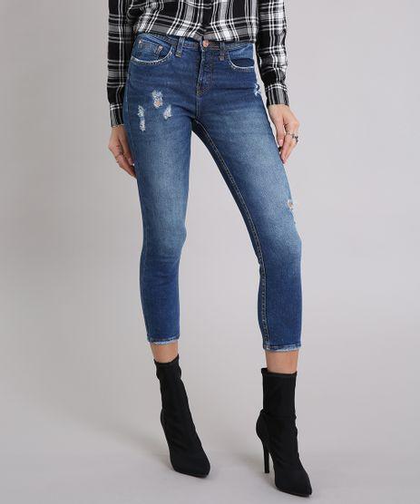 Calca-Jeans-Feminina-Skinny-Cropped-com-Puidos-Azul-Escuro-9195860-Azul_Escuro_1