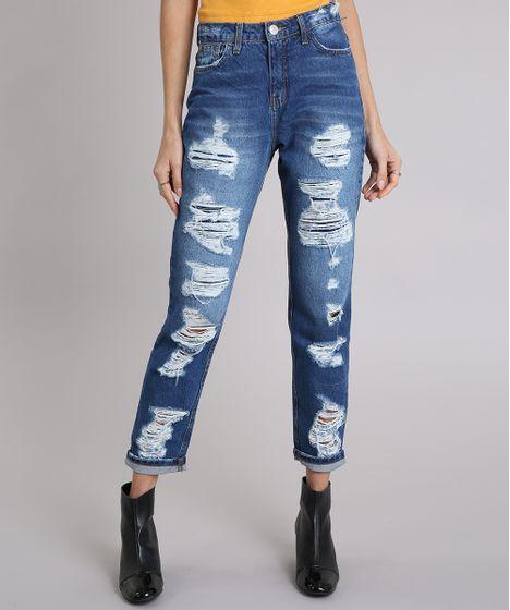 4e179c7d4 Calça Jeans Feminina Mom Pants Destroyed Azul Escuro - cea