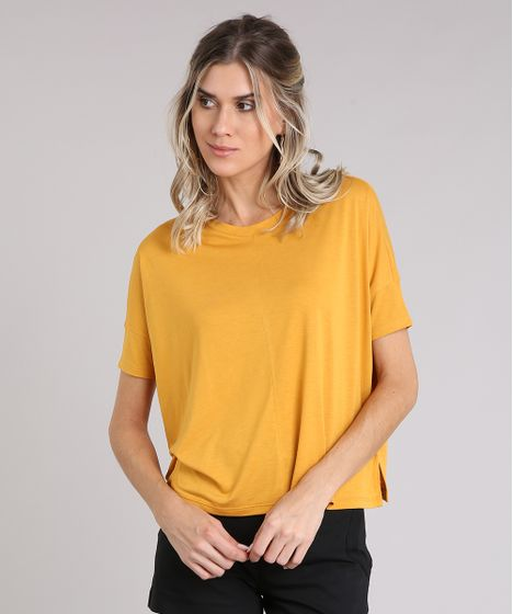 Blusa Feminina Ampla com Recorte Manga Curta Decote Redondo Amarela ... 3a3441469f2