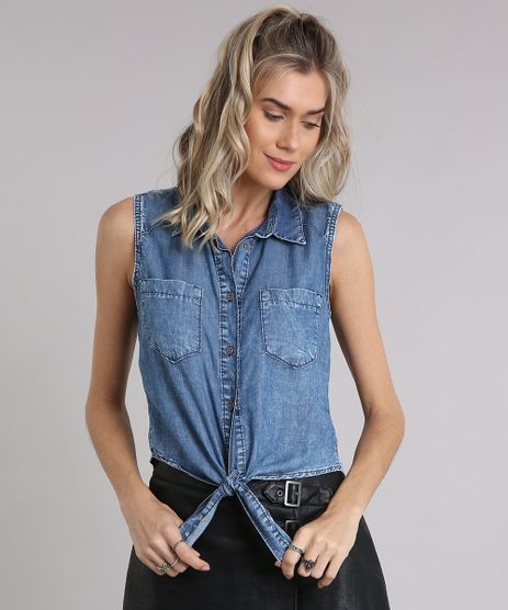 Camisa-Jeans-Feminina-Sem-Manga-com-No-Azul-Escuro-9102259-Azul_Escuro_1