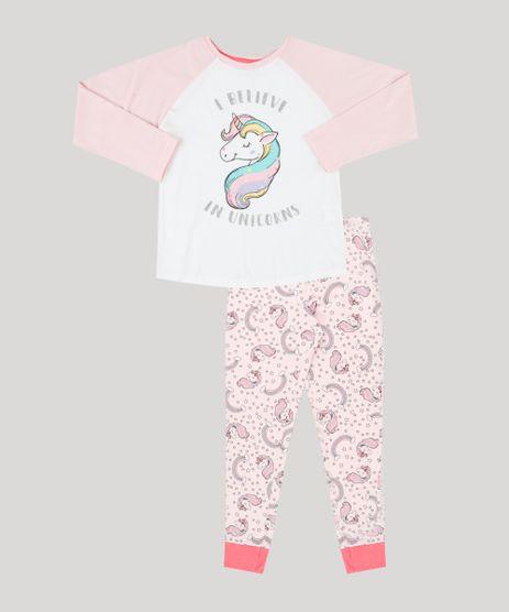 Pijama-Infantil-de-Unicornio-Manga-Longa-em-Algodao---Sustentavel--Rosa-9232239-Rosa_1