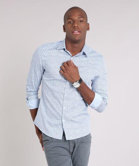 02a57c9b12 Menor preço em Camisa Masculina Slim Estampada Floral Manga Longa Azul Claro