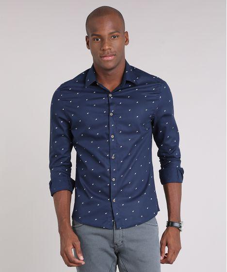Camisa Masculina Slim Estampada de Folhagem Manga Longa Azul Marinho ... b706f63c0f640