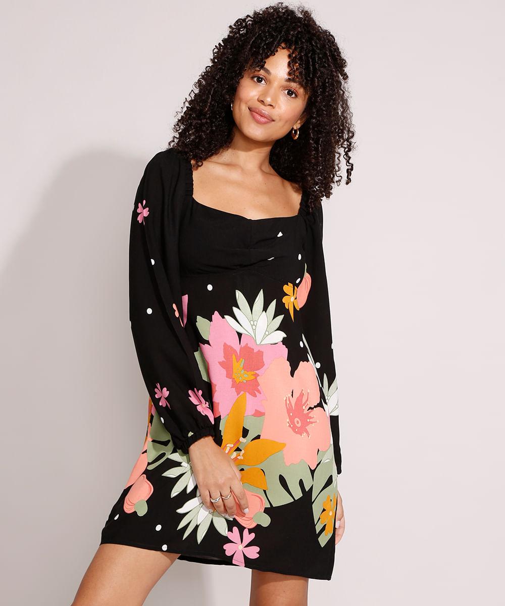 Vestido de Viscose Estampado Floral Curto Manga Bufante Preto