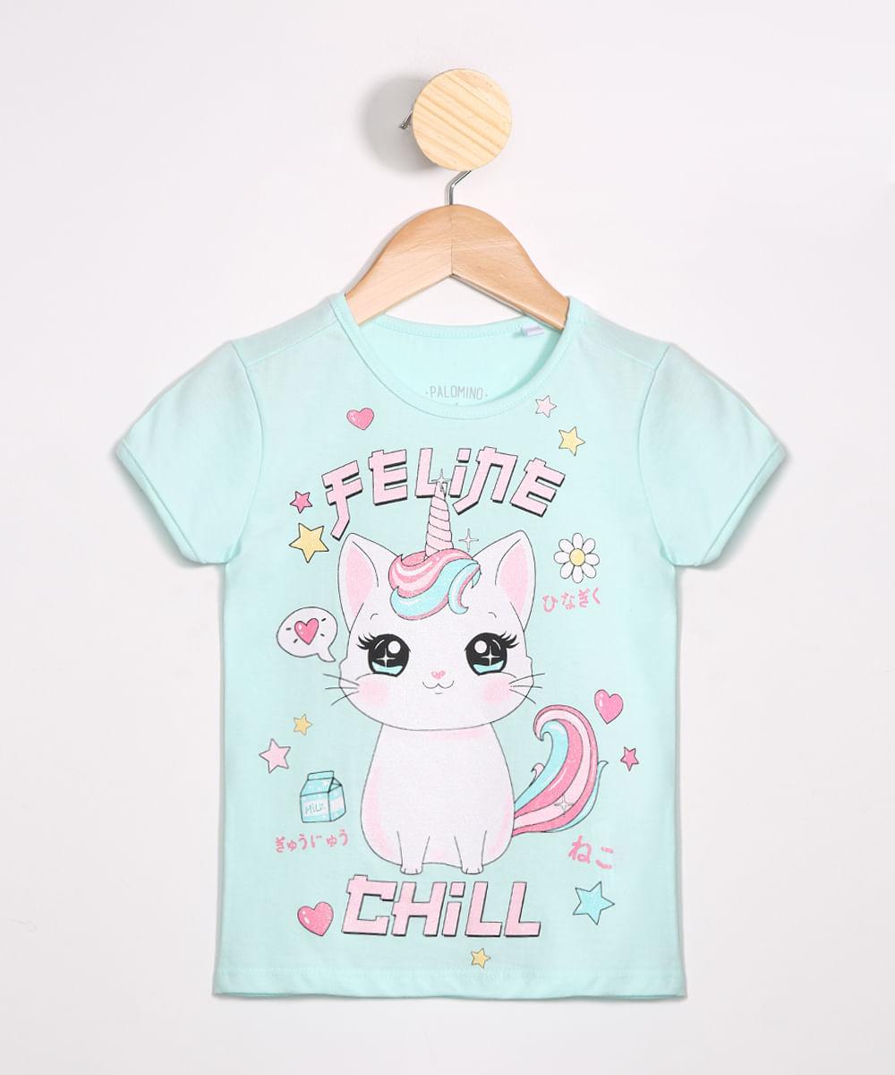 "Camiseta Infantil Feline Chill"" Manga Curta Decote Redondo Azul Claro"""