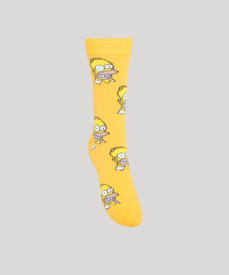 Meia-Cano-Alto-Estampada-Homer-Simpson-Amarela-9900916-Amarelo_1