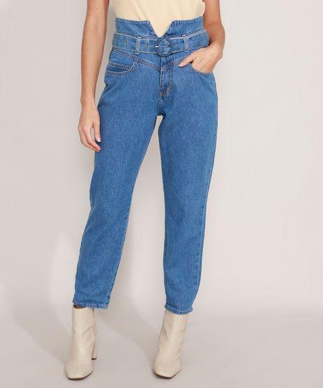 Calca-Clochard-Mom-Jeans-Cintura-Super-Alta-com-Cinto-Azul-Medio-9988919-Azul_Medio_1