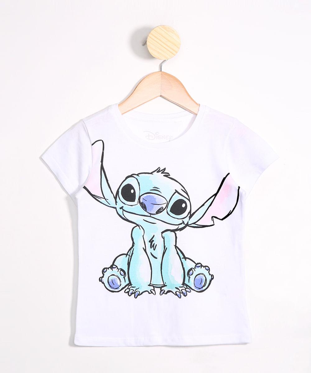 Camiseta Infantil Stitch Manga Curta Decote Redondo Off White