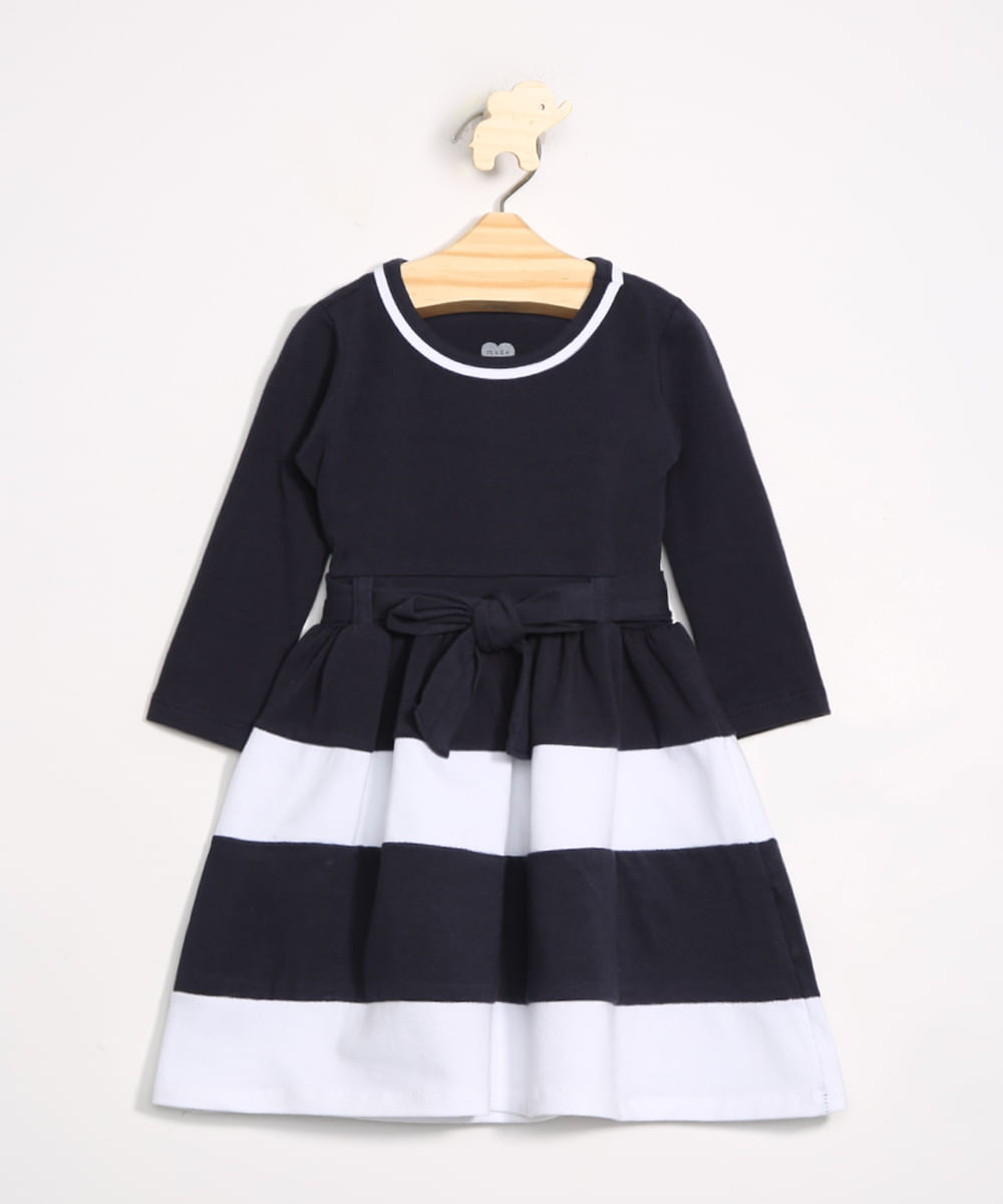 Vestido Infantil com Recortes e Cinto Manga Longa Azul Marinho