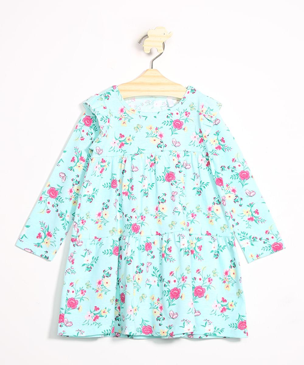 Vestido Infantil Estampado Floral com Babados Manga Longa Azul Claro