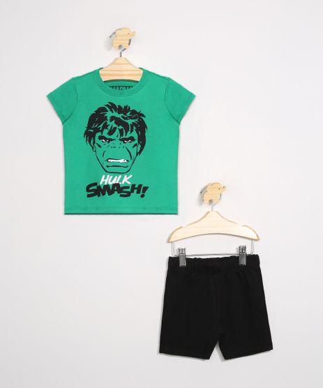 Conjunto-Infantil-de-Camiseta-Manga-Curta-Hulk-Verde---Bermuda-Preto-9975702-Preto_1