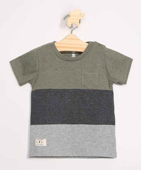 Camiseta-Infantil-com-Recortes-e-Bolso-Manga-Curta-Gola-Careca-Verde-Militar-9980233-Verde_Militar_1