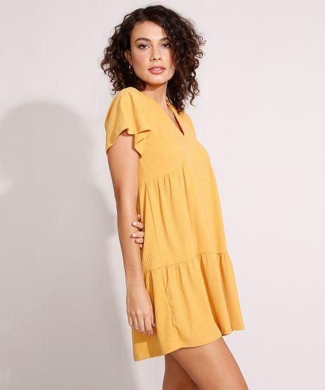 Vestido-Feminino-Curto-Canelado-com-Recortes-e-Amarracao-Manga-Curta-Ampla-Mostarda-9975912-Mostarda_1