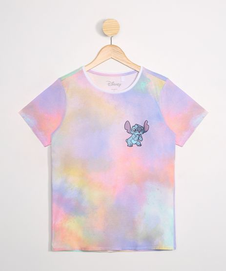 Blusa-Infantil-Stitch-Estampada-Tie-Dye-Manga-Curta-Decote-Redondo-Multicor-9988748-Multicor_1