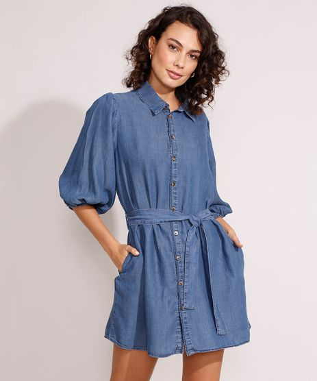 Vestido-Chemise-Jeans-Curto-Manga-Bufante-com-Faixa-Azul-Escuro-9988992-Azul_Escuro_1