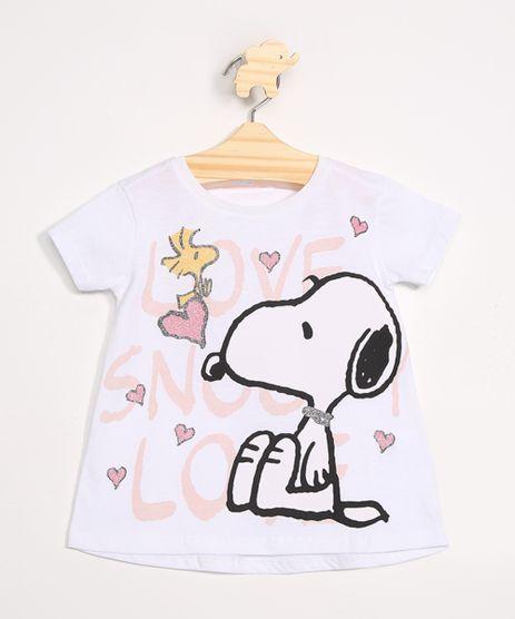 Blusa-Infantil-Snoopy-com-Brilho-Manga-Curta-Decote-Redondo-Off-White-9976919-Off_White_1