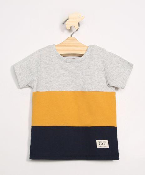 Camiseta-Infantil-com-Recortes-Manga-Curta-Gola-Careca-Cinza-Mescla-Claro-9980232-Cinza_Mescla_Claro_1