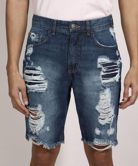 Bermuda-Slim-Jeans-Destroyed-com-Bolsos-Azul-Escuro-9981484-Azul_Escuro_1