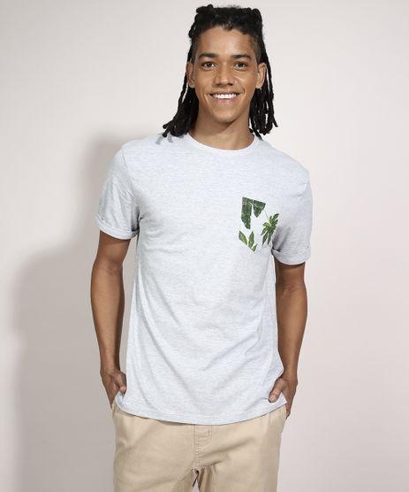 Camiseta-com-Bolso-Estampado-de-Folhagem-Manga-Curta-Gola-Careca-Branca-9982924-Branco_1