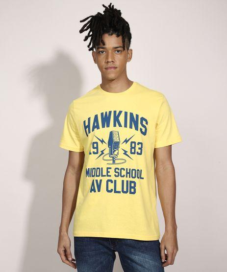 Camiseta-Stranger-Things--Hawkins--Manga-Curta-Gola-Careca-Amarela-9989057-Amarelo_1