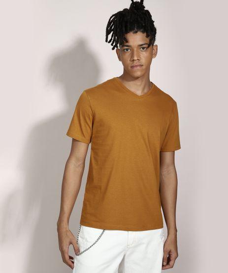 Camiseta-Basica-Manga-Curta-Gola-V-Marrom-8472842-Marrom_1