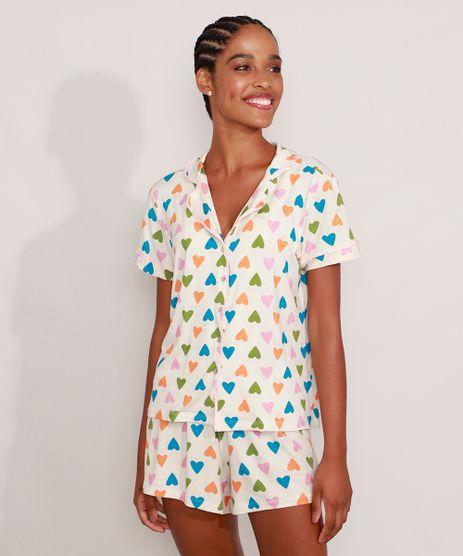 Pijama-Camisa-Manga-Curta-Tal-Mae-Tal-Filha-Estampado-de-Coracoes-com-Vivo-Contrastante-Off-White-9982963-Off_White_1
