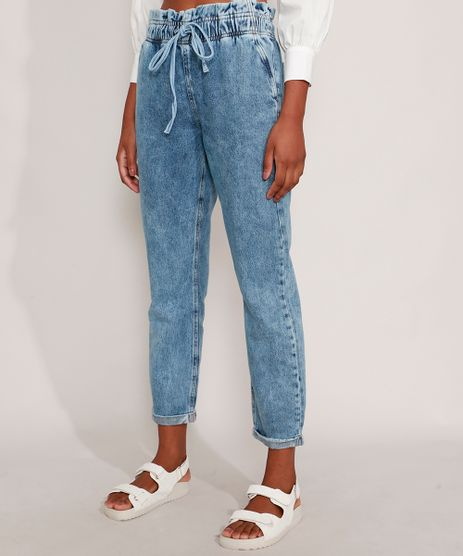 Calca-Mom-Clochard-Jeans-Marmorizada-Cintura-Super-Alta-com-Cordao-Azul-Claro-9985479-Azul_Claro_1