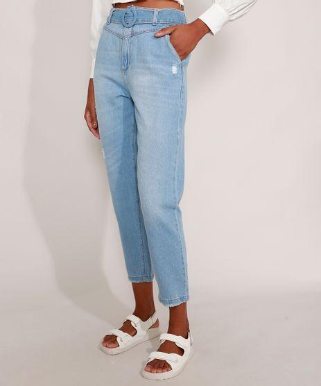 Calca-Mom-Jeans-Cintura-Super-Alta-com-Cinto-e-Puidos-Azul-Claro-9989545-Azul_Claro_1