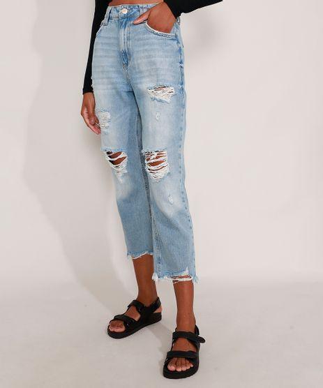 Calca-Mom-Jeans-Cropped-Destroyed-Cintura-Super-Alta-Azul-Claro-9991633-Azul_Claro_1
