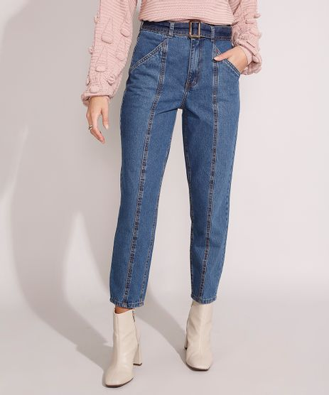 Calca-Mom-Jeans-Cintura-Super-Alta-com-Recortes-e-Cinto-Azul-Escuro-9991277-Azul_Escuro_1