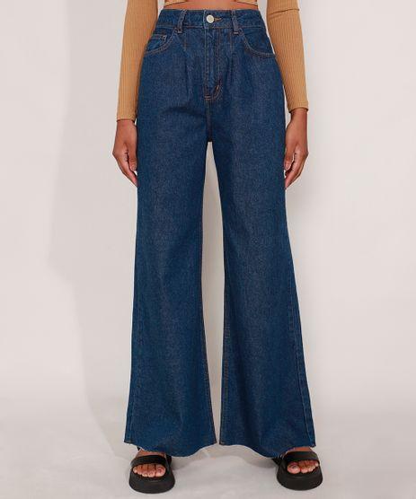 Calca-Wide-Pantalona-Jeans-com-Pences-e-Barra-a-Fio-Cintura-Super-Alta-Azul-Escuro-9992130-Azul_Escuro_1