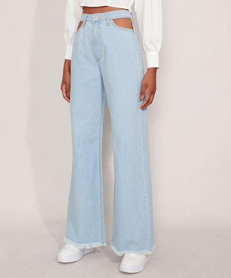 Calca-Jeans-Feminina-Wide-Pantalona-Cintura-Super-Alta-com-Vazado-Azul-Claro-9984566-Azul_Claro_1
