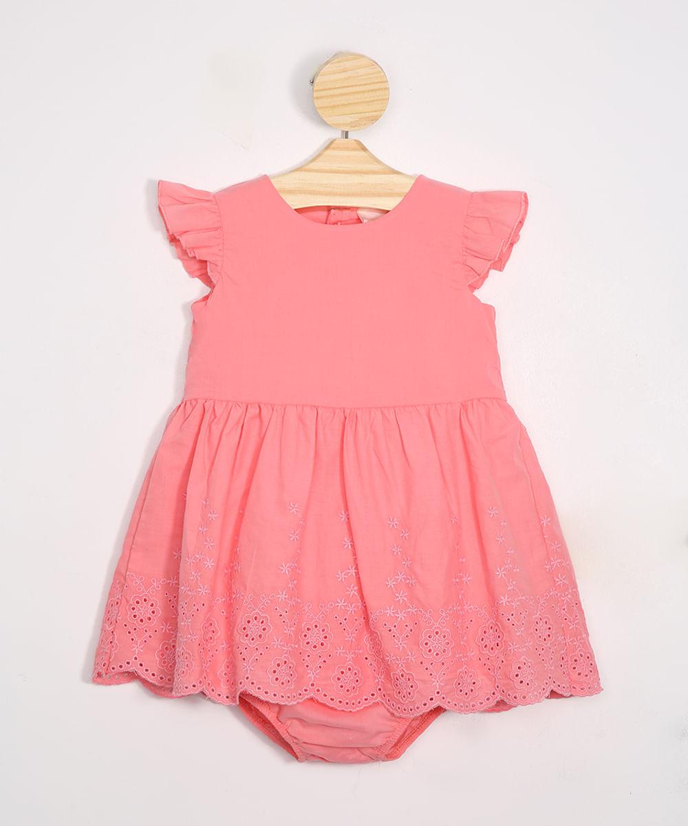 Vestido Infantil de Laise Manga Curta + Calcinha Rosa
