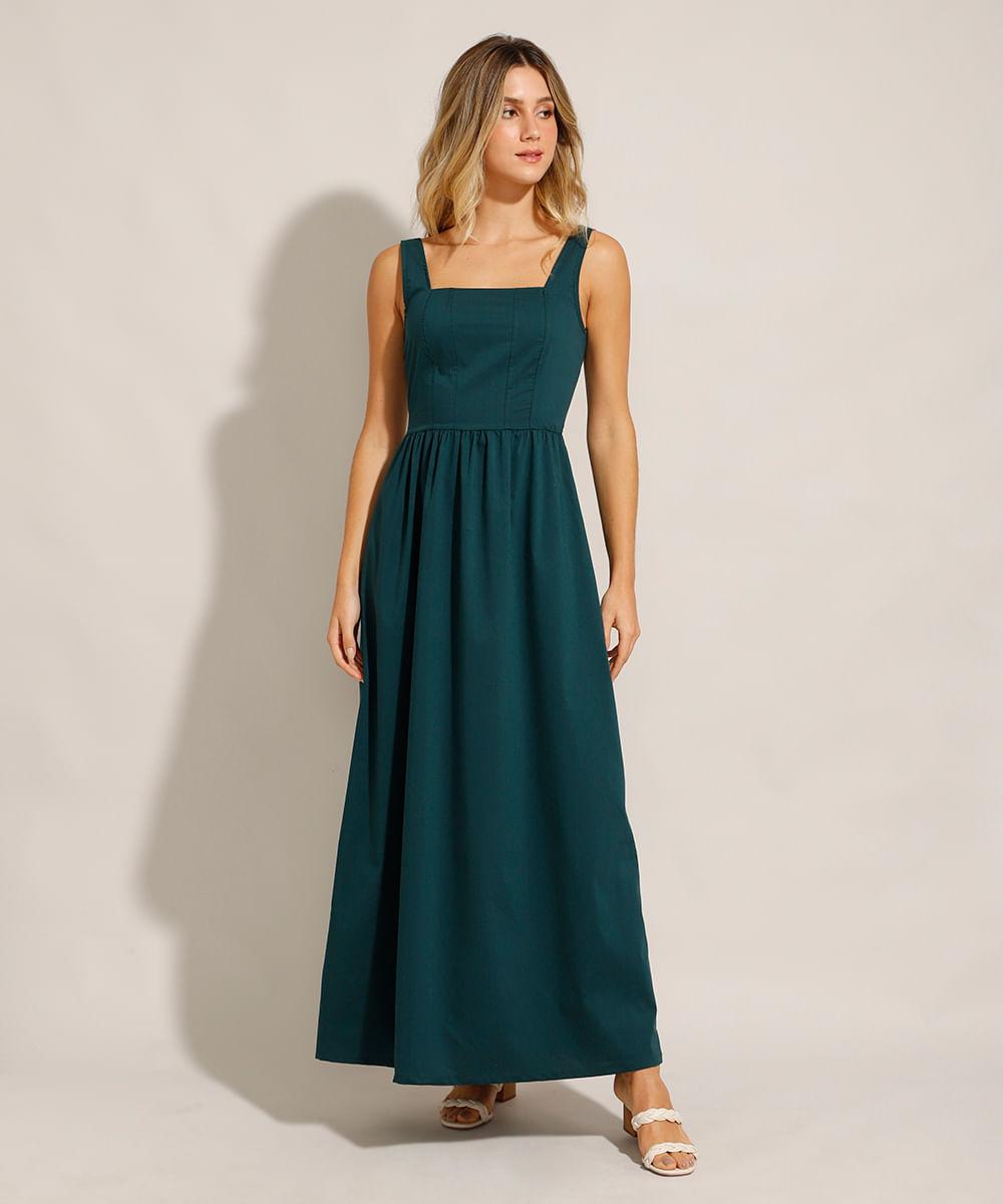 Vestido Longo com Recortes Alça Larga Decote Reto Verde Escuro