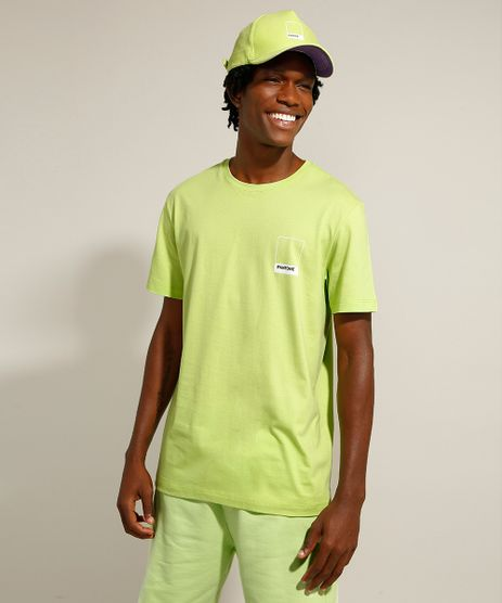 Camiseta-de-Algodao-Manga-Curta-Gola-Careca-Pantone-Verde-9958968-Verde_1