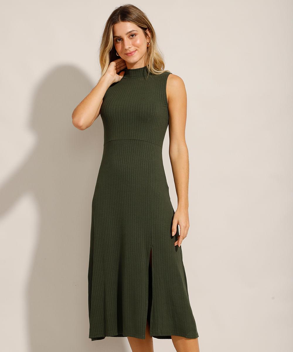 Vestido Midi Canelado Gola Alta com Fendas Verde Militar