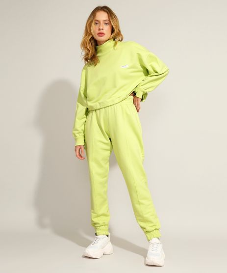 Calca-Jogger-de-Moletom-com-Frisos-Cintura-Super-Alta-Pantone-Verde-9985817-Verde_1