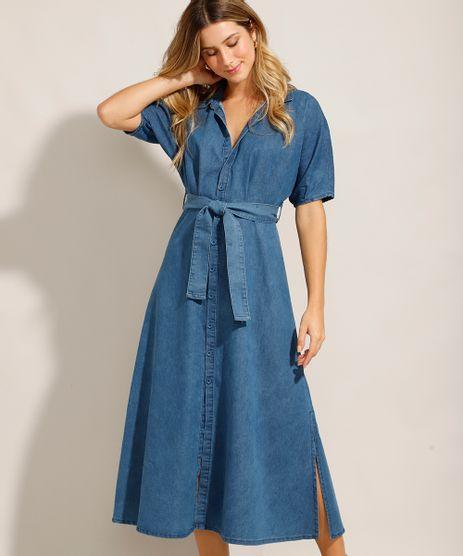 Vestido-Chemise-Jeans-Midi-com-Faixa-de-Amarrar-e-Manga-Curta-Azul-Medio-9992006-Azul_Medio_1
