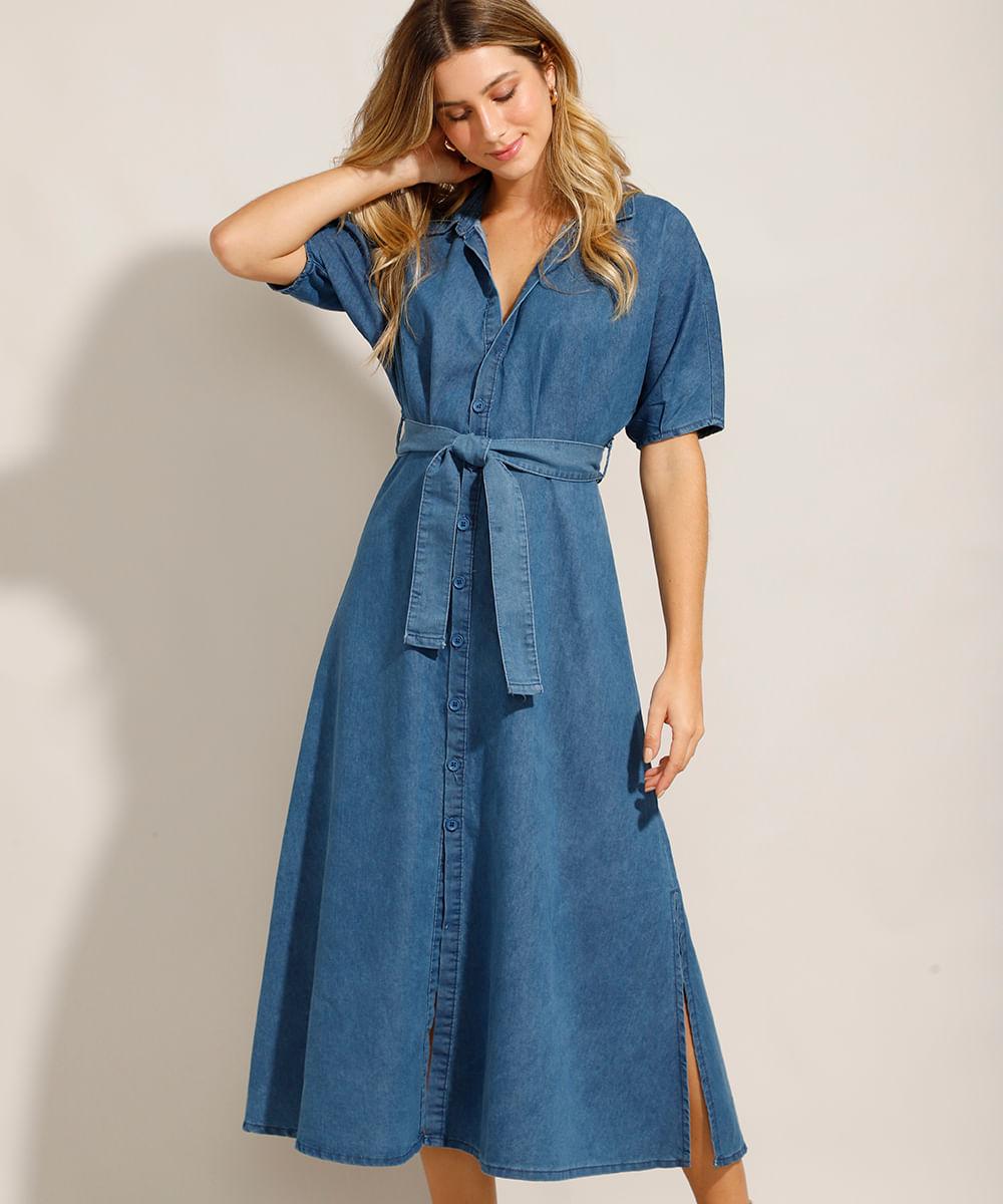 Vestido Chemise Jeans Midi com Faixa de Amarrar e Manga Curta Azul Médio