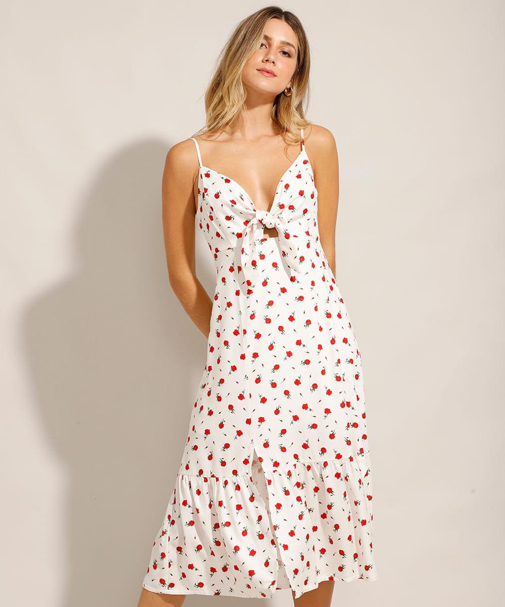 Vestido Midi Estampado Floral com Nó Alça Fina Decote Redondo Off White