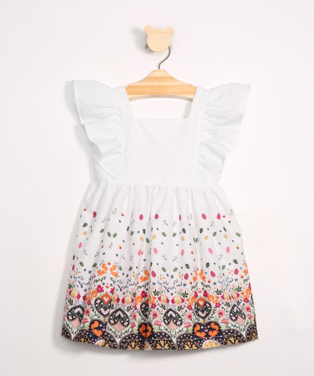 Vestido Infantil com Estampa na Barra Manga Curta Decote Reto Off White