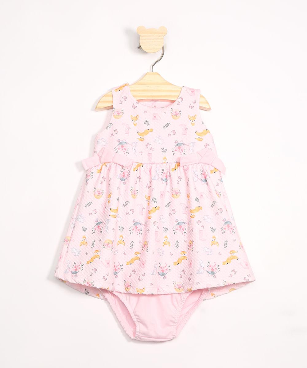 Vestido Infantil Estampado Raposa com Babados + Calcinha Rosa